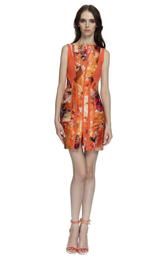 Medium j mendel print sleeveless dress with shoulder cut outs