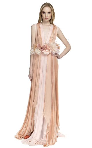 Medium j mendel pink sleeveless bicolor gown with multilayered hem