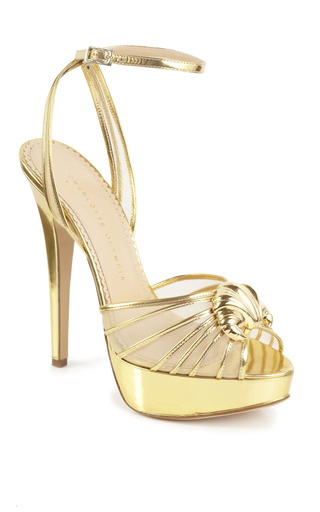 Medium charlotte olympia gold open toe croissant sandal
