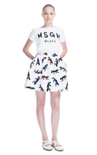 Medium msgm multi panther print skirt 2