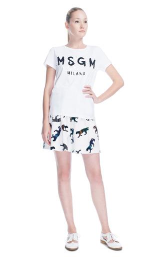 Medium msgm white logo tee