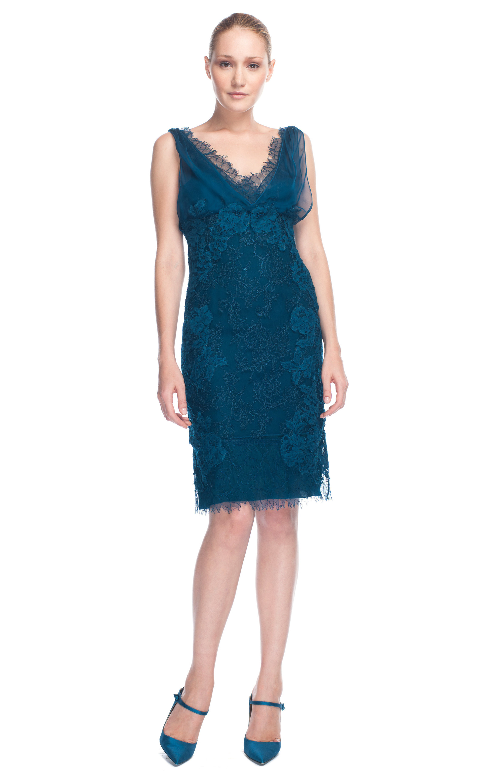 Dark blue v neck lace cocktail dress by alberta ferretti moda operandi v neck lace cocktail dress this trunkshow has ended close loading ombrellifo Image collections