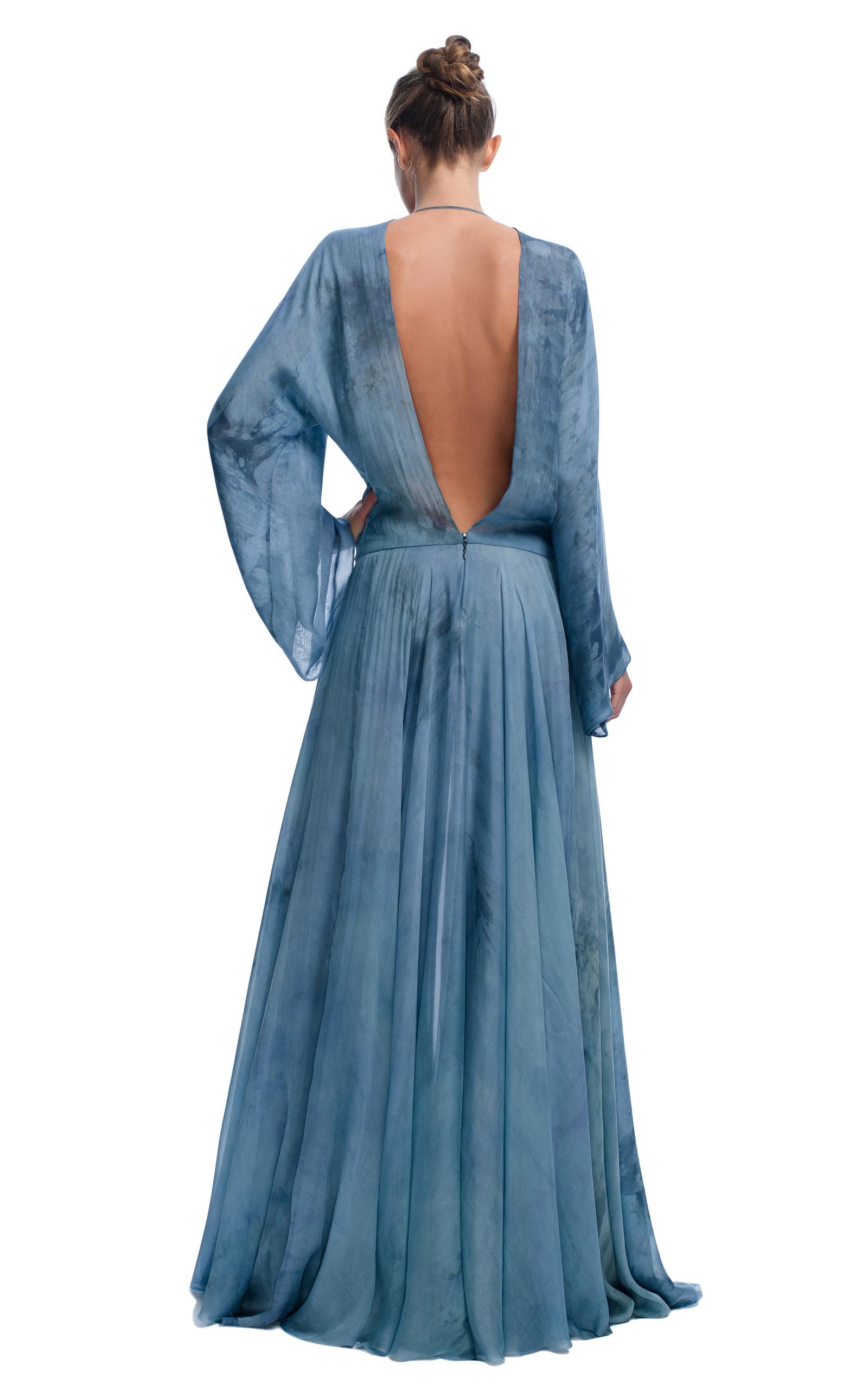 Tie Dye Slate Evening Gown By Versace Moda Operandi