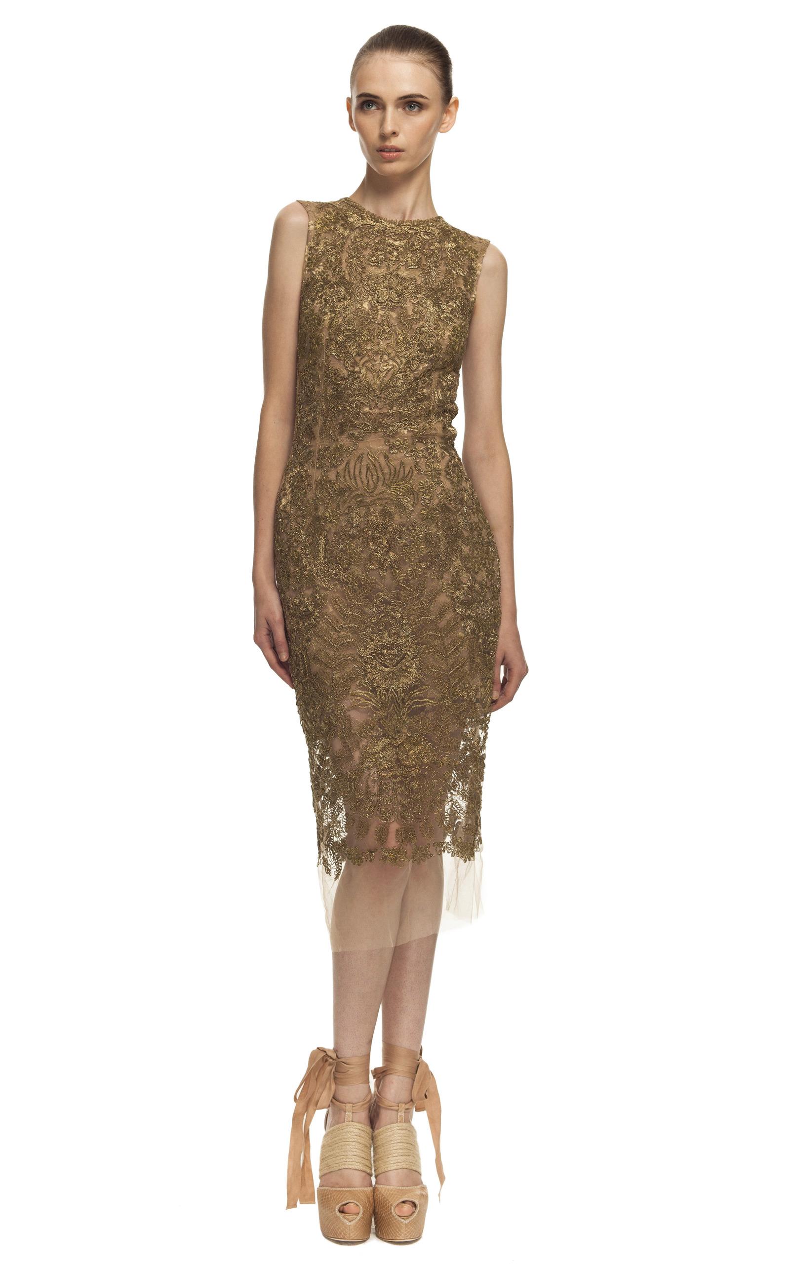Embroidered Lace Sheath Dress by Vera Wang