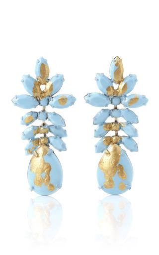 Medium tom binns gold gilded pleasure turquoise painted earrings