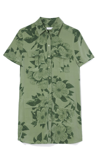 Medium equipment green archive tropical floral remy utility dress