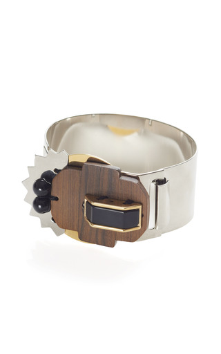 Medium marni brown abstract metallic bracelet