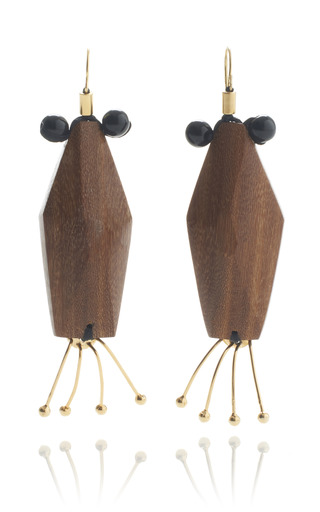 Medium marni brown slim wooden critter earrings