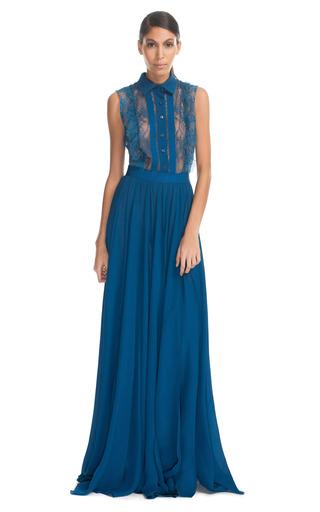 Medium elie saab blue cobalt lace up long dress