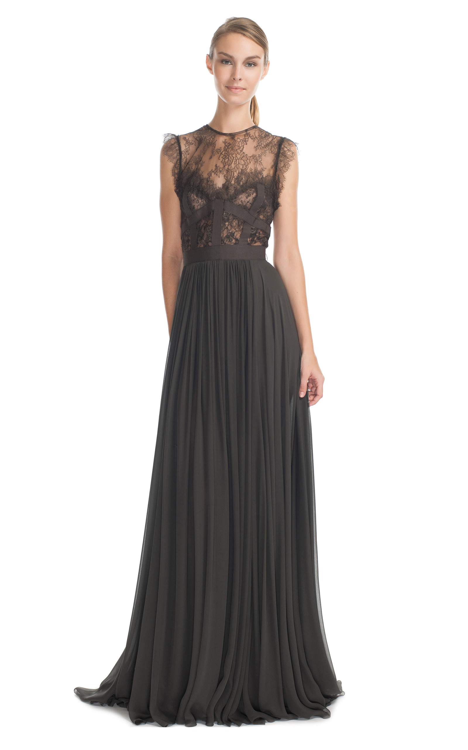charcoal lace and grosgrain long dress by elie saab moda