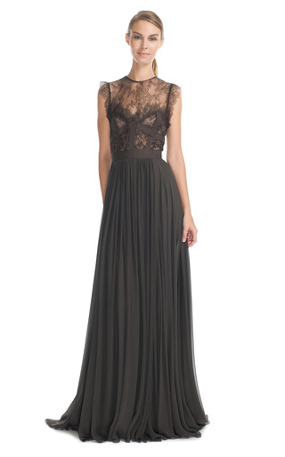 Medium elie saab dark grey charcoal lace and grosgrain long dress