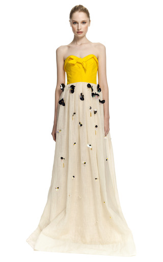 Medium delpozo multi combination strapless linen gown