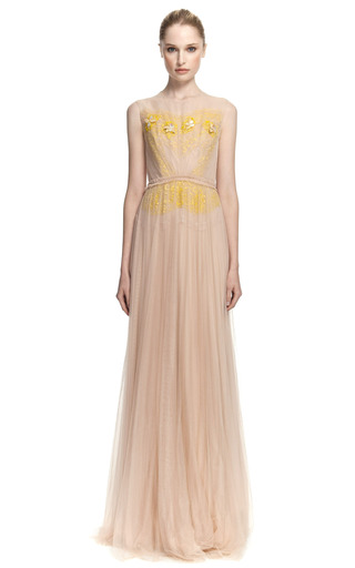 Medium delpozo yellow sleeveless sweetheart two tone gown