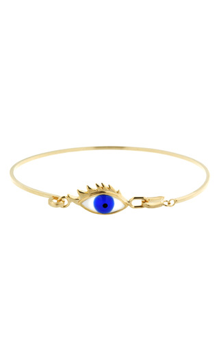 Medium delfina delettrez blue bloody tears gold plated and enamel bracelet