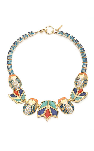 Blue Flame Scarab & Lotus Necklace by LELE SADOUGHI for Preorder on Moda Operandi