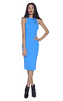 Blue Seamed Shift Dress With White Trim by ANTONIO BERARDI Now Available on Moda Operandi