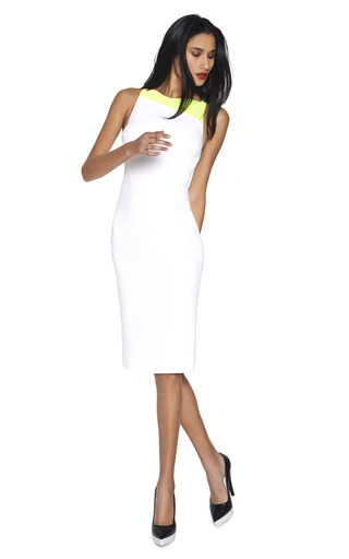 Sleeveless Sheath Dress With Neon Trim by ANTONIO BERARDI Now Available on Moda Operandi
