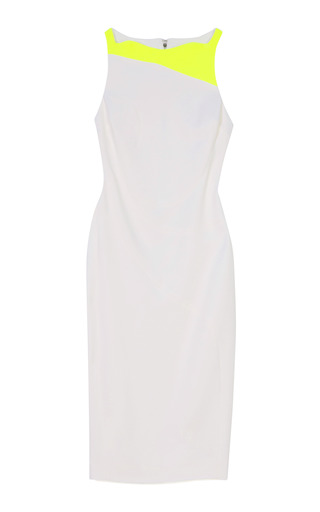 Medium antonio berardi white sleeveless sheath dress with neon trim