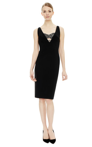 Deep V Sheath Dress With Lace Bra by ANTONIO BERARDI Now Available on Moda Operandi