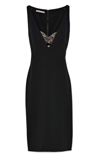 Medium antonio berardi black deep v sheath dress with lace bra