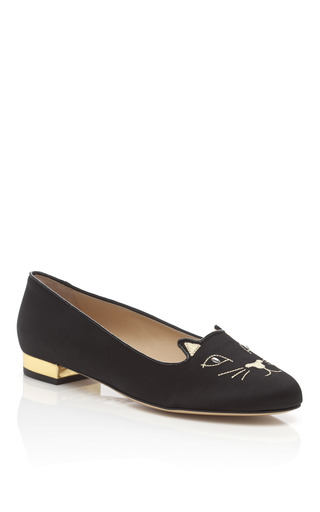 Medium charlotte olympia black kitty embroidered satin slippers