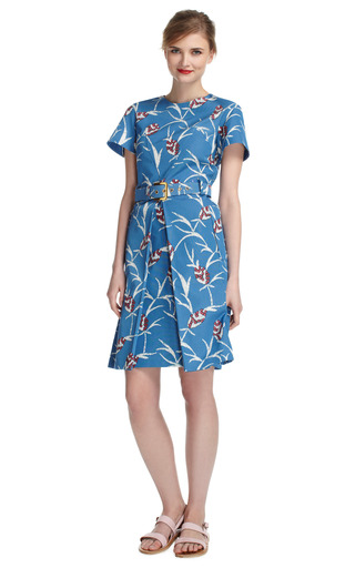 Azur Short Sleeve Structured Dress by MARNI Now Available on Moda Operandi