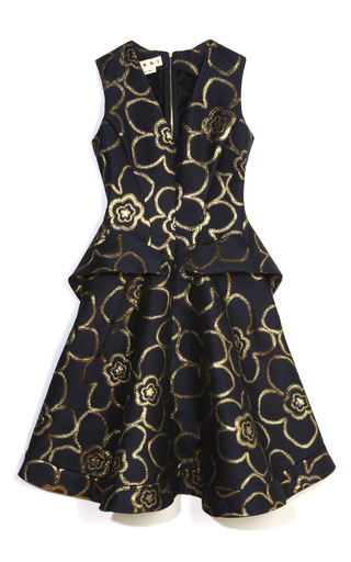 Medium marni gold gold flower jacquard flap pocket dress
