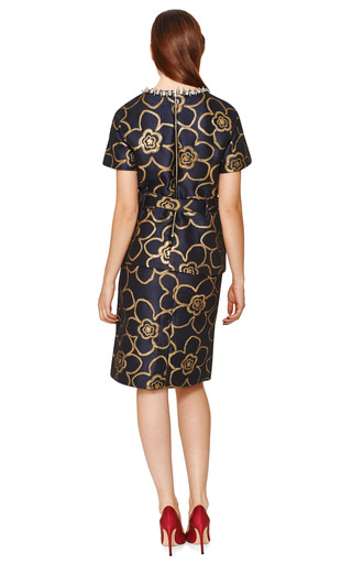 Gold Flower Jacquard Front Slit Skirt by MARNI Now Available on Moda Operandi