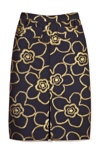Medium marni gold gold flower jacquard front slit skirt