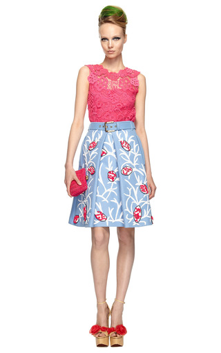 Iris Blue Embroidered Skirt by MARNI Now Available on Moda Operandi