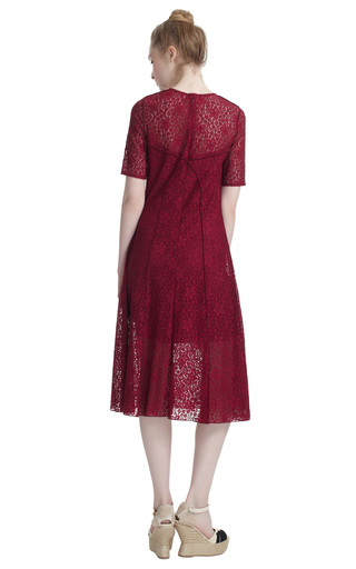 Short Sleeve Lace Dress by NINA RICCI Now Available on Moda Operandi