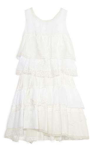 Medium nina ricci white cotton volie tiered dress