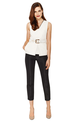 Belted Silk V Neck Top by MARNI Now Available on Moda Operandi