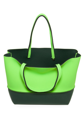 Lime/Turquoise Beach Bag by LEGHILA Now Available on Moda Operandi
