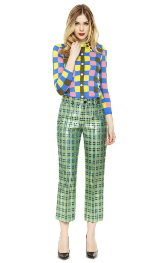 Lurex Plaid Jacquard Ankle Pants by MARC JACOBS Now Available on Moda Operandi
