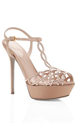 Medium sergio rossi nude nude platform jeweled sandal