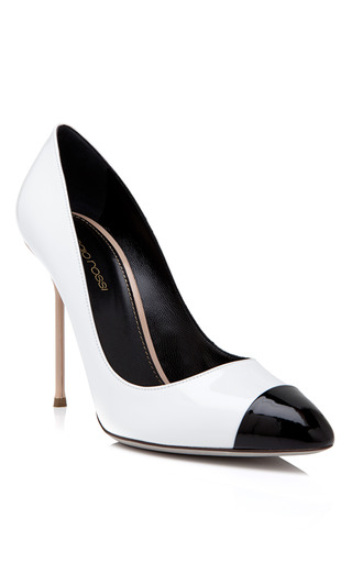 Medium sergio rossi white black toe pump