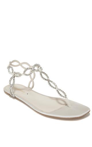 Medium sergio rossi multi ivory flat jeweled sandal