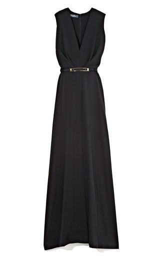 Medium salvatore ferragamo black black long v neck dress