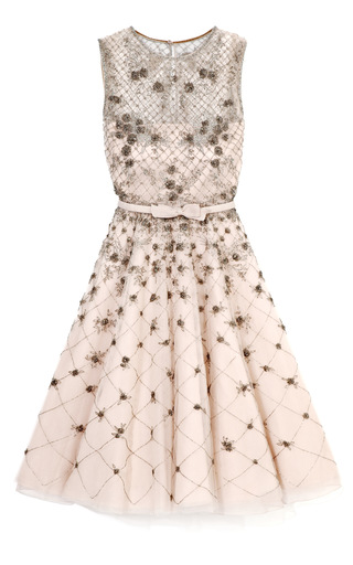 Medium valentino multi tulle illusione sleeveless dress w silver beading