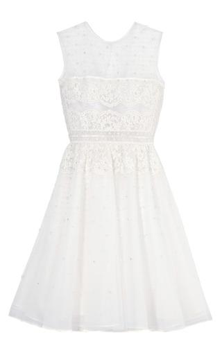 Medium valentino white sleeveless dress w crystal embroidery