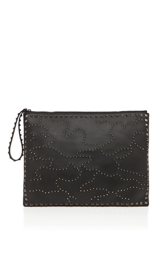 Noir Memetic Rockstud Clutch by VALENTINO Now Available on Moda Operandi