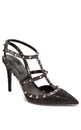 Medium valentino black 100mm noir rockstud slingback