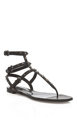 Medium valentino black noir gladiator sandal