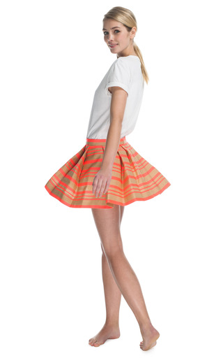 Open Weave Stripe Pleated Skirt by THAKOON Now Available on Moda Operandi
