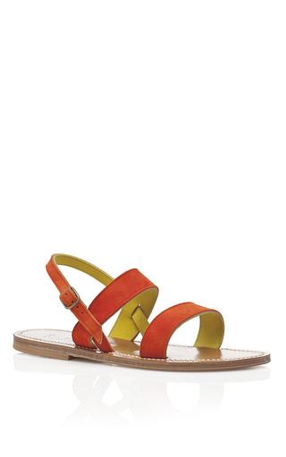 Naranja & Amarillo Velour Barigoule Bi Sandals by K. JACQUES Now Available on Moda Operandi