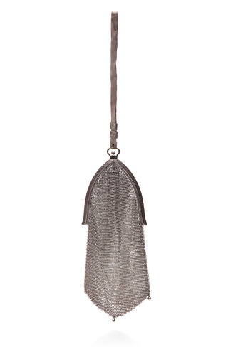Medium carole tanenbaum silver vintage 1920s mesh chainmail wristlet bag