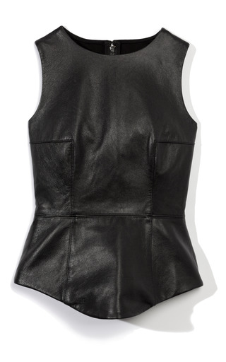 Medium tibi black leather peplum top