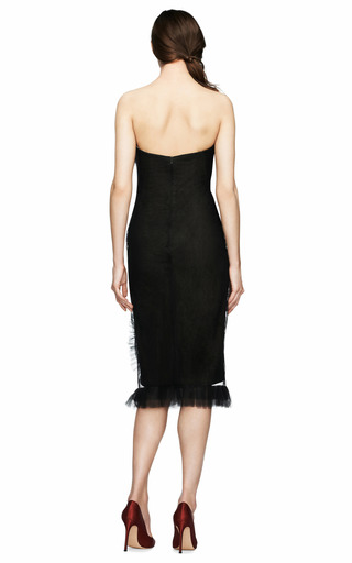 Strapless Tulle Cocktail Dress by MARCHESA Now Available on Moda Operandi