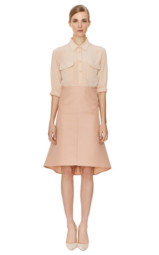 Nude Saddle Hem Skirt by MARNI Now Available on Moda Operandi